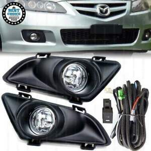 Fit 2003 2005 Mazda 6 Clear Lens Fog Lights Kit W Switch Wire Bulbs Bezels New