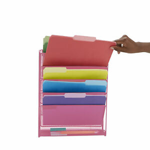 Mind Reader 6 Compartment Vertical Hanging Wall File Organizer Pink