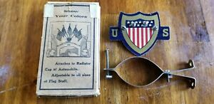 Vintage Antique American Shield Auto Flag Holder Radiator Cap 5 Flag Topper