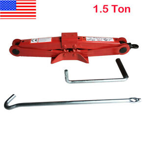 1 5 Ton Scissor Jack Auto Car Emergency Chromed Crank Lift Stand Tool Red Us