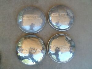 Set Of 4 Hub Caps 1940s 7 1950s 3 4 T Ford Truck Pickup Dog Dish Hubcap