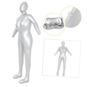 Pvc Full Body Woman Female Inflatable Mannequin Dummy Torso Display Model Silver