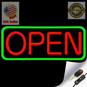Large Flashing Led Neon Open Sign Light For Businesses With Remote Extra Br