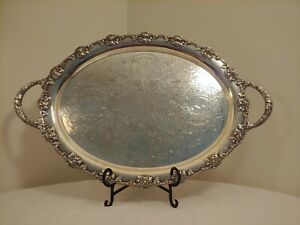 Antique Victorian Silverplate Butler Large Oval Handled Serving Tray 24 X 15