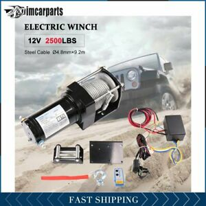1x Electric Winch Steel Cable 2500lbs 12v Tow Towing Truck Trailer W Remote