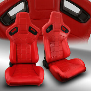 2 X Reclinable Red Pvc Leather Left Right Sport Racing Bucket Seats Pair