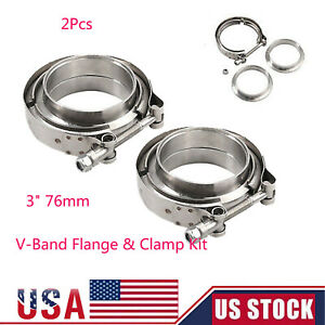 2pcs 3 V band Flange clamp Kit For Turbo Exhaust Downpipe Stainless Male female