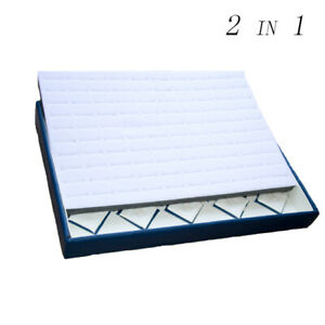 2 In 1 White Blue Faux Leather With 100 Slots Deluxe Velvet Rings Display Tray
