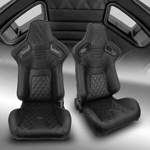 2 X Reclinable Pvc Leather Black Strip Left Right Racing Bucket Seats Pair