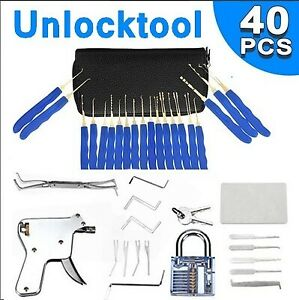 40pcs Unlocking Lock Pick Set Key Extractor Transparent Practice Padlock Tools