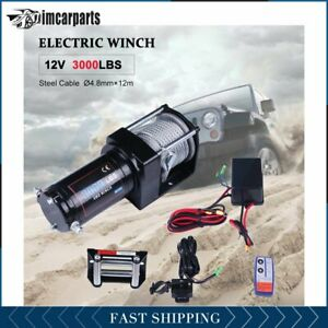 1x Electric Winch Steel Cable 3000lbs 12v Tow Towing Truck Trailer W Remote