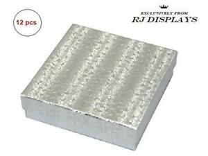 12 Pack Cotton Filled Silver Paper Cardboard Jewelry Gift And Retail Boxes 3 5