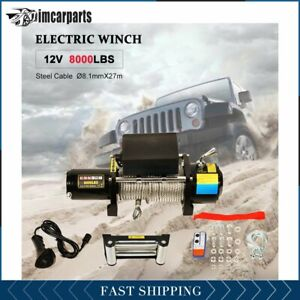 1x Electric Winch Steel Cable 8000lbs 12v Tow Towing Truck Trailer W Remote