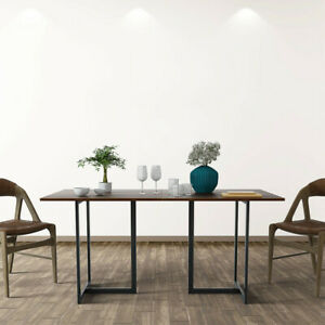 Metal Frame Wood Top Console Dining Table Rectangular Kitchen Table 60 Desk