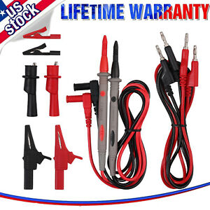 9 electrical Multimeter Test Lead Kit Probes Lead With Alligator Clips Clamp Set