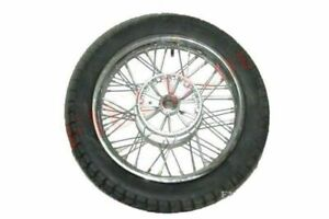 Complete Chrome 16 Inch 36 Holes Wheel Rim With Tyre Tube For Jawa