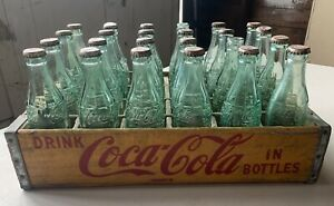 Vintage Drink Coca Cola Wooden Crate With Bottles