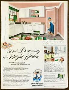 1952 Dutch Boy Paints PRINT AD If You're Dreaming of a Bright Kitchen Pink