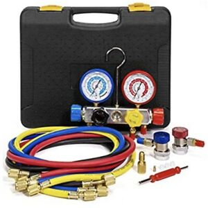 Xtremepowerus 4 Way Ac Manifold Gauge Set Hvac Diagnostic Charging Tool W hose