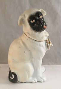 Victorian German Bisque Porcelain Pug Doll Figure Statue Gold Collar