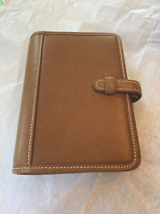 Coach Saddle Brown Leather Organizer Address Book Agenda Planner 4x6 No Pen
