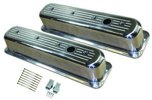 Center Bolt Sb Chevy Tall Ball Milled Polished Aluminum Valve Cover 87 95 350 V8