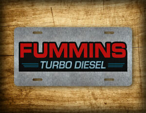 Brushed Aluminum Fummins Turbo Diesel License Plate Truck Pickup Auto Tag