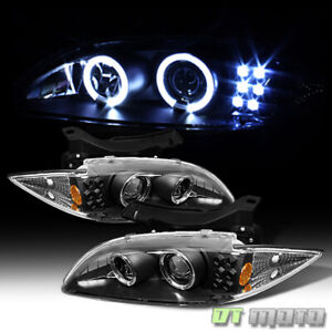 Blk 1995 1999 Chevy Cavalier Led Halo Projector Headlights Headlamps Left right