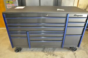 Snap on Master Series 72in Tool Box Dark Titanium W Blue Trim
