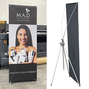 New And Premium Adjustable X Banner Stand Portable Oxford Bag 23 x63 To 32 x78