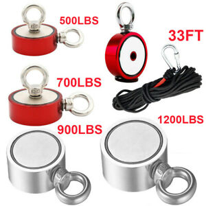 Fishing Magnet Kit Up To 1100 Lb Pull Force Super Strong Neodymium 49ft Rope Us