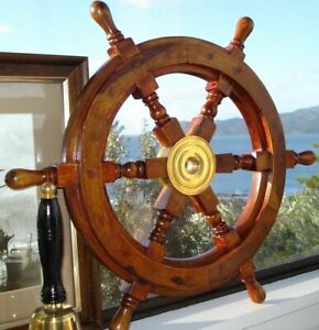 18 Durable Wooden Brass Ship Wheel For Nautical Pirate Themed Home Decor Brown