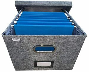 Collapsible File Box Storage Organizer With Lid Decorative Linen Hanging File