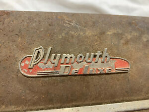 1938 1939 Plymouth Deluxe Automobile Emblem Badge Ornament Trim Name Plate 38 39