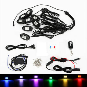 8pcs Rgb Led Rock Lights Wireless Rc Music Black color Offroad Truck Boat