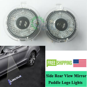 Led Side Rear View Mirror Puddle Light For Lincoln Mkt Mks Mkx Pure White Logo