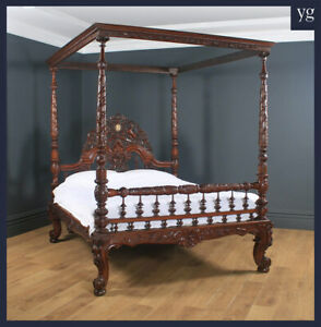 Antique 5ft 7 Victorian Anglo Indian Colonial Raj King Size Four Poster Bed