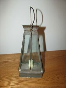 Antique Hanging Tin Whale Oil Lantern Or Candle Lantern 1800 S