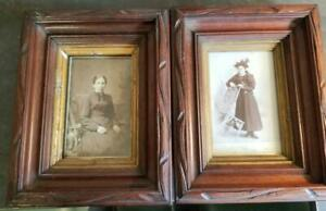 Pair Antique Victorian Wood Deep Well Wall Frames 11 2 By 8 Inch Carved