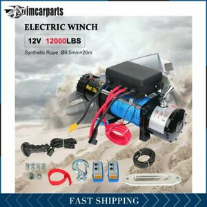 1x Electric Winch Synthetic Rope 12000lbs 12v Tow Towing Truck Trailer W Remote