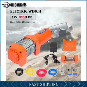 1x Electric Winch Steel Cable 3500lbs 12v Tow Towing Truck Trailer W Remote