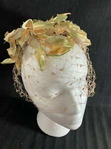 1950's Fall Hat - Veil Style w/Autumn Leaves & Brown Satin Bow- FASCINATOR- SALE