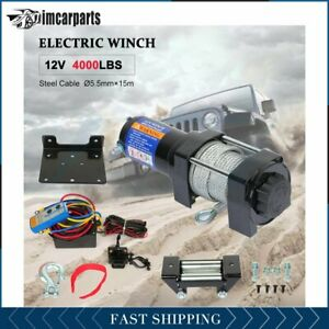1x Electric Winch Steel Cable 4000lbs 12v Tow Towing Truck Trailer W Remote