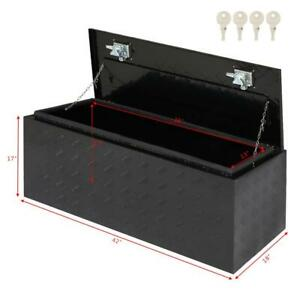 42 X 18 X 16 Black Aluminum Underbody Trunk Bed Trailer Tool Box Storage W Lock