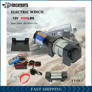 Electric Winch Steel Cable 3500lbs 12v Tow Towing Truck Trailer W Remote 1pcs