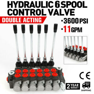 6 Spool Hydraulic Control Valve Double Acting 11 Gpm 3600 Psi Bspp Ports New