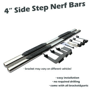 4 Side Step Nerf Bars Running Boards For 1999 2018 Chevy Silverado Extended Cab