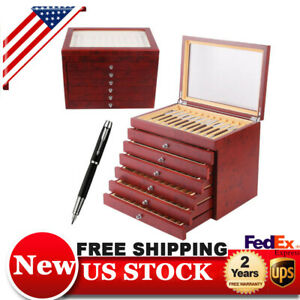 78 Slot Pen Wood Plexiglass Display Case Organizer Storage Box Luxury Gift