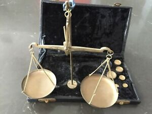 Antique 19th C Gold Rush Civil War Era Balance Scale In Wood Box