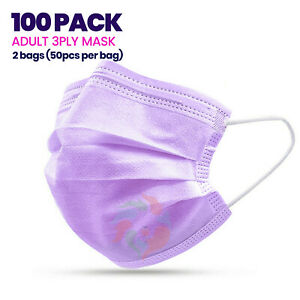 100 Pack Sealed Purple Disposable 3ply Face Mask Adult Non medical Dental